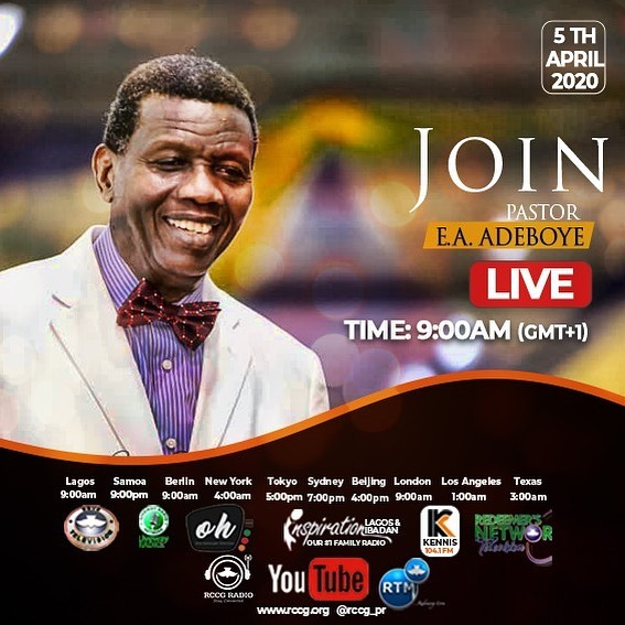 LIVE: Special Sunday Service With Pastor E.A Adeboye || 5/04/2020