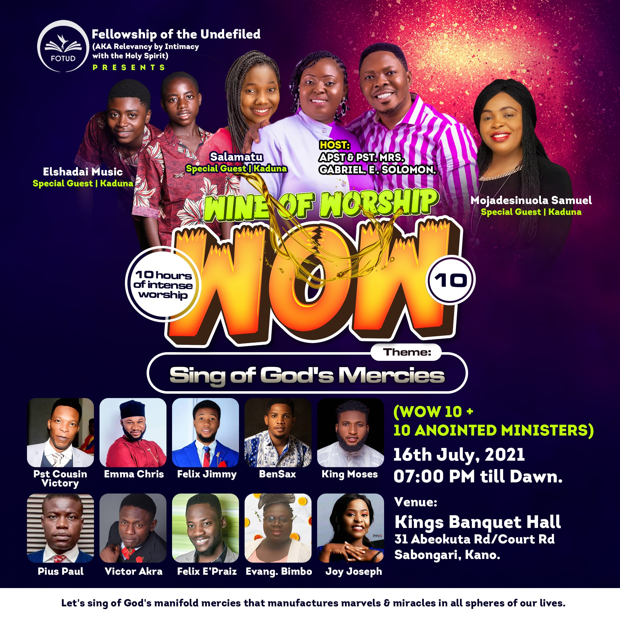 EVENT: Wine Of Worship 10 | Friday, 16th July 2021